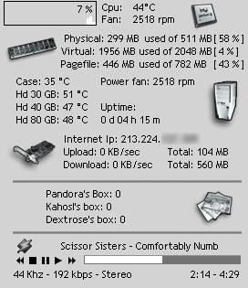 Samurize screenshot van Dextro