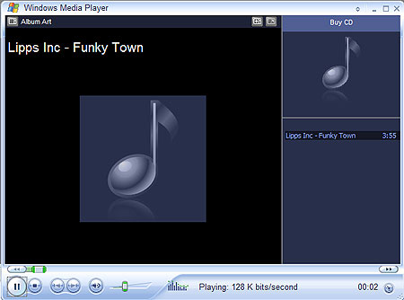 Windows Media Player 10 playing small