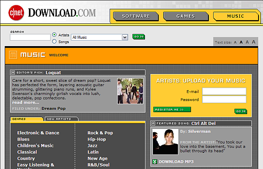 Download.com Music screenshot