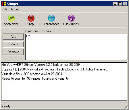 McAfee Stinger 2.2.2 screenshot