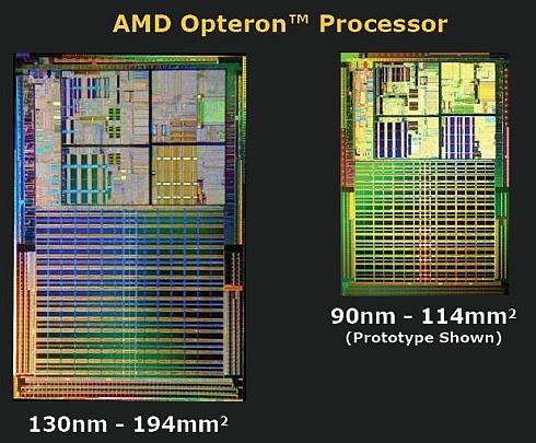 AMD Opteron 130nm en 90nm cores
