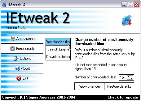 IETweak 2 1.0.5 screenshot