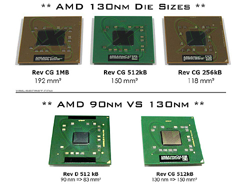 AMD K8 CPUs (fp size)