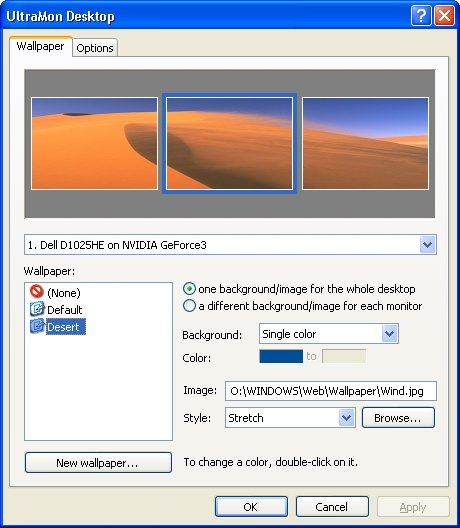 UltraMon desktop options screen