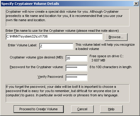 Cryptainer create volume screenshot