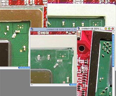 ATi X800 Pro te modificeren naar X800 XT - closeup contactpuntven