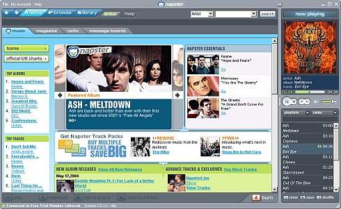 Napster musicstore screenshot