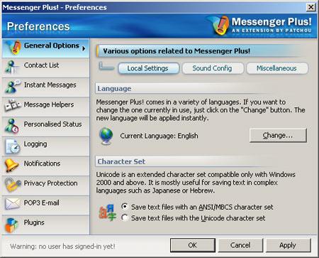 Messenger Plus! 3 preferences