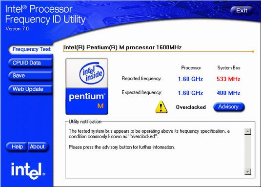 Processor Frequency ID Utility screenshot