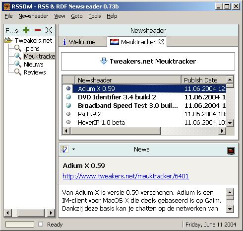 RSSOwl screenshot