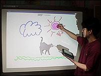 digitale pen op een whiteboard
