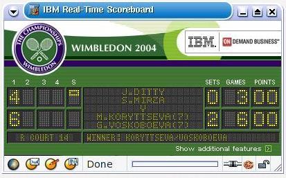 Wimbledon online scorebord