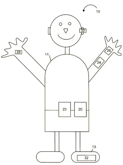 Afbeelding van mens, patent Microsoft