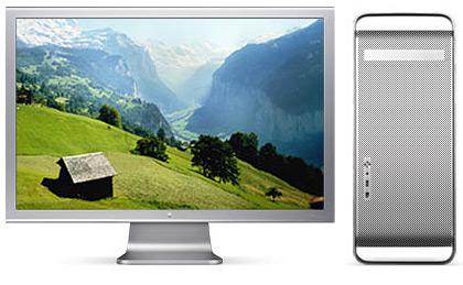 Het 30-inch LCD-scherm naast de Power Mac G5
