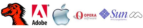 Mozilla Adobe Apple Opera Sun Macromedia logo's