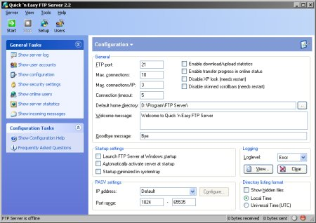 Quick 'n Easy FTP Server 2.2 prent (klein)