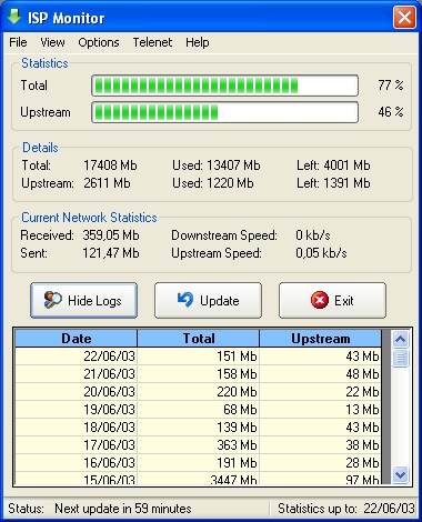 ISP monitor Main Screen & Logs
