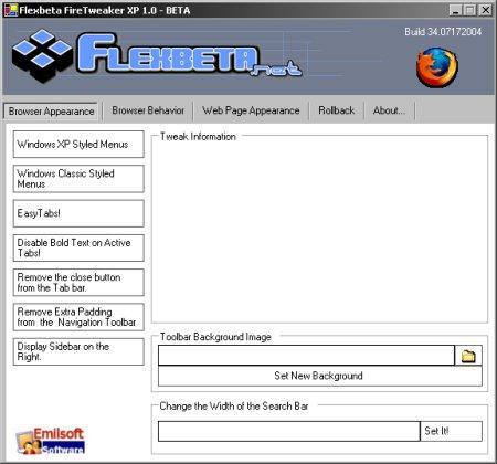 Flexbeta FireTweaker XP 1.00 beta screenshot (klein)