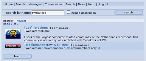 Orkut - screenshot van Tweakers.net-community's