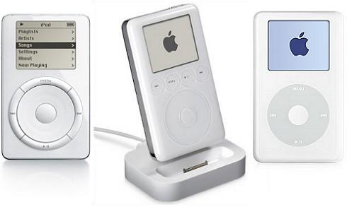 Drie iPod-generaties naast elkaar