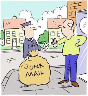 Spam, junkmail, e-mail, afwijzen