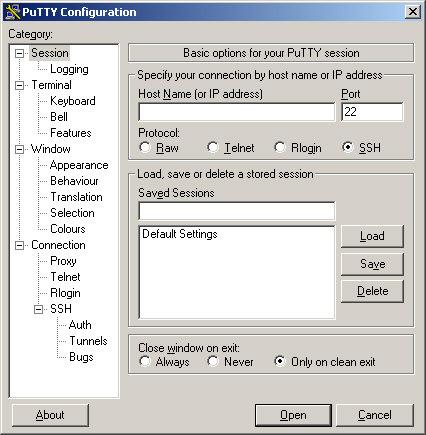 Putty screenshot