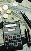Zaken / Rekenmachine / Geld / Winst / Inkomsten