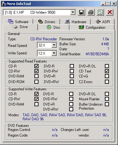 Nero InfoTool screenshot