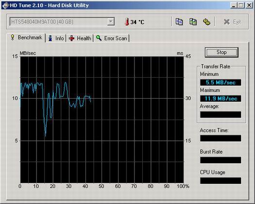 HD Tune 2.10 screenshot