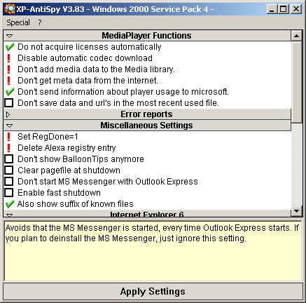 XP-AntiSpy 3.83 screenshot