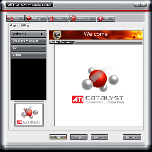 Catalyst Control Center welkomstscherm