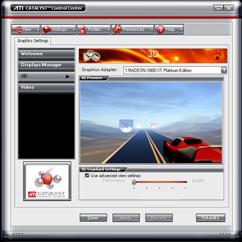 Catalyst Control Center 3d-previewscherm