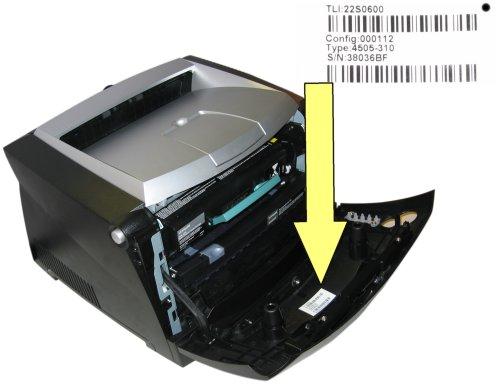 Plaats van het serienummer op een Lexmark printer