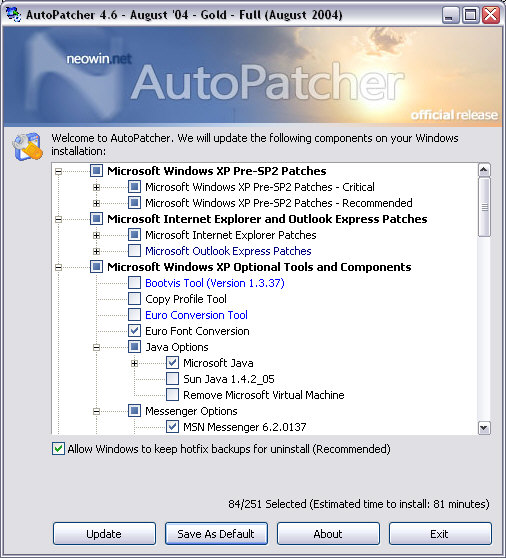 AutoPatcher XP 4.6.24 screenshot