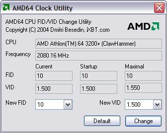 AMD64 Clock Utility screenshot
