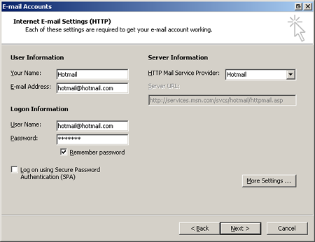 Hotmail in Outlook