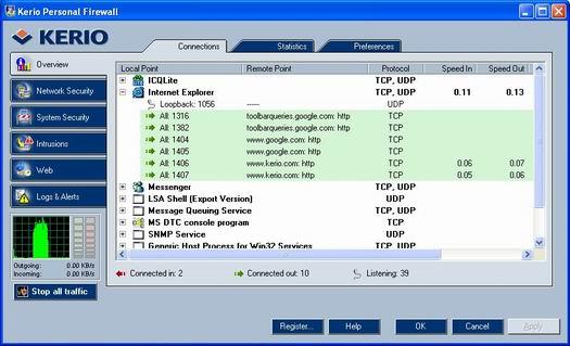 Kerio Personal Firewall screenshot (resized)