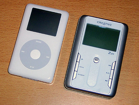 Creative Zen Touch & Apple iPod (rechts) naast elkaar