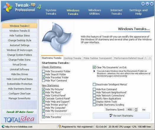 Tweak-XP Pro 4.0 screenshot (resized)