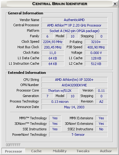 Central Brain Identifier 7.3.0.3 build 1006 - AMD Athlon XP 2500+ op 2200MHz