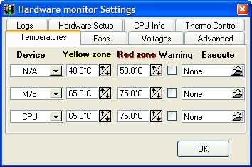 Hmonitor settings screen
