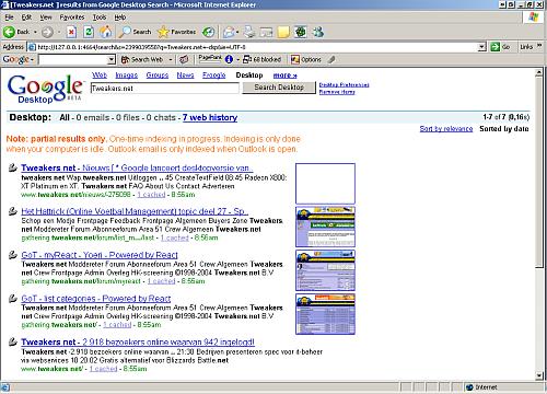 Google Desktop Search Screenshot