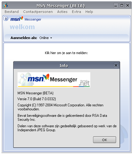 MSN Messenger 7.0.0332