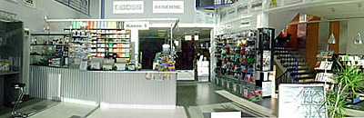 Interieur muziekwinkel
