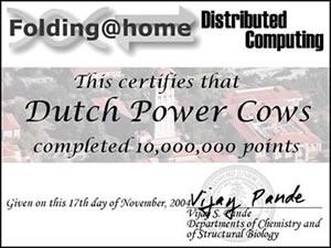 DPC Folding@Home certificaat 10 miljoen