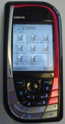 Skulls-trojan op een Nokia 7610 telefoon