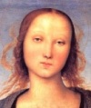 Detail Madonna en Kind, Perugino (kleinst)