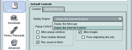 Netscape Browser - Switching engines