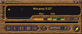 Winamp 5.07 screenshot met WoodAmp skin