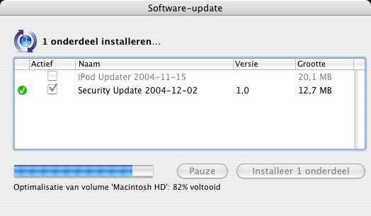 Apple Mac OS X 10.3.6 - update in actie
